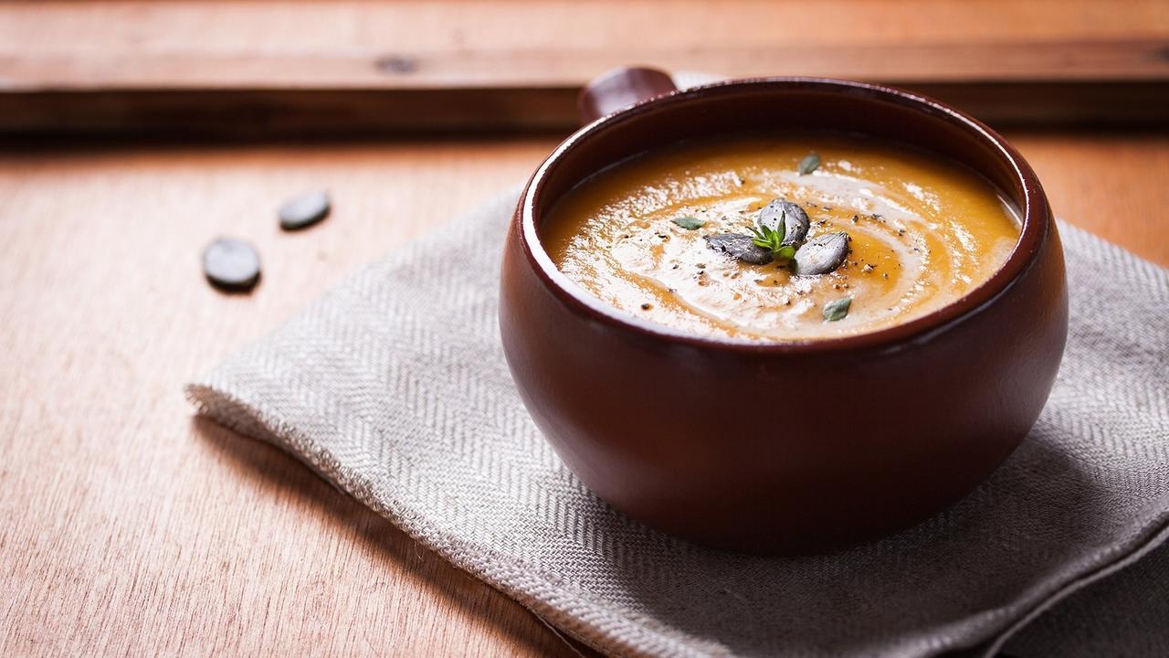 Sopa de calabaza con puerros y jengibre